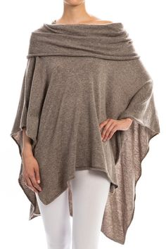 Knit Poncho in Beige – Sweater Weather Co.