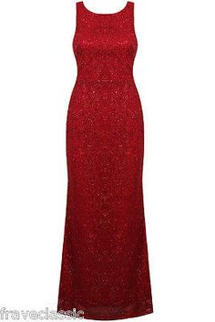 Red Glitter Evening Maxi Dress