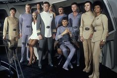 """Cast members on the set of the 1979 film """"Star Trek: The Motion Picture"""" include from left: George Takei, Stephen Collins, Persis Khambatta, Majel Barrett (in back), William Shatner, Grace Lee Whitney (in back), James Doohan, Leonard Nimoy, DeForest Kelley, Walter Koenig, and Nichelle Nichols"""