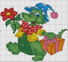 Dinosaur x-stitch