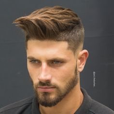 Men's hair and beard style, log striglet top styled undercut
