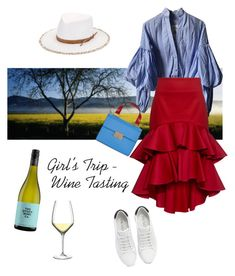 """Wine Tasting"" by sakuranoki ❤ liked on Polyvore featuring Johanna Ortiz, Prada, Alexis, Emporio Armani, Luigi Bormioli, Eric Javits, girlstrip and WineTastingOutfit"