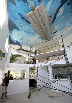 Gone Fishin' Ceiling Mural - beach style - family room - san francisco - Murals by Morgan