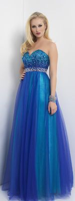 Royal and Turquiose Tulle and Sequin Empire Waist Strapless