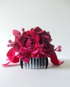 Crushed velvet hair pin. This needs to live on me. ...pretty as punch!