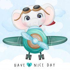 Boat Cartoon, Cartoon Elephant, Elephant Art, Cute Elephant, Airplane Illustration, Elephant Illustration, Cute Illustration, Cute Baby Penguin, Princess Painting