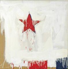 Serge Lemoyne Red Flag, July 4th, Independence Day, Digital Art, Illustration Art, Graphic Design, American, Blue, Canadian Artists