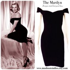 Achieve Pin Up perfection in The Marilyn pencil dress by Hardley Dangerous Couture! This designer wiggle dress is sewn from luxe Ponte de Roma stretch knit offering an hourglass silhouette that hugs your curves! You choose the color! Misses Sizes XXS-2XL  At Moonboot Studios we offer quality handmade designs that you can trust. Our dresses are figure friendly, uniquely handmade and equipped with that vintage swing style youll adore. Place your order today at www.moonbootstudios.etsy.com…