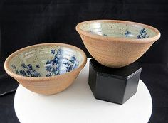 """STONEWARE ART POTTERY SIGNED 2 PC BLUE FLORAL 2 3/4"""" WHEEL THROWN BOWLS"""