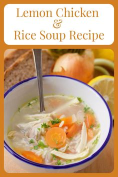 Our Lemon Chicken & Rice Soup Recipe + Pantry Staples is a healthy and nutritious recipe with chef tips to stock your pantry! Today's homemade chicken soup is hearty and filling with chicken broth, onions, carrots, shredded chicken, rice, parsley, and a splash of lemon! #souprecipe #pantrystaples #tips #healthyrecipe || cookingwithruthie.com Lemon Chicken Rice Soup, Chicken Rice Recipes, Homemade Chicken Soup, Best Soup Recipes, Great Recipes, Healthy Recipes, Recipe Pantry, Dinner Ideas, Dinner Recipes