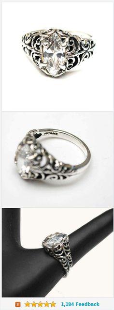Sterling Filigree CZ  Sterling Filigree CZ ring - Signed Kabana -Cubic Zirconia - Size 7 ring - silver ornate setting -  www.etsy.com/...