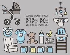 Premium Vector Clipart Kawaii Baby Boy by LookLookPrettyPaper