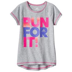 """Girls 4-6x Adidas """"Super Star"""" High-Low Tee, Girl's, Size: 4, Med Grey"""