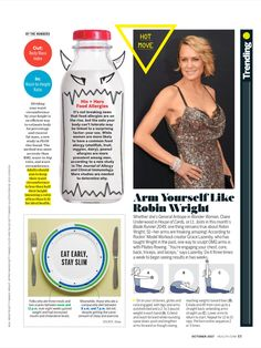 """""""Arm Yourself Like Robin Wright"""" from Health, October 2017. Read it on the Texture app-unlimited access to 200+ top magazines."""
