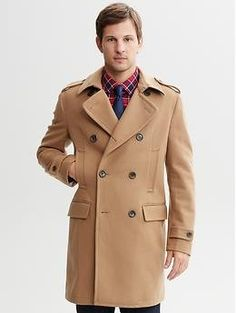 Camel wool-blend double-breasted topcoat  Perfect length, prefer the darker buttons like this as opposed to beige on beige.