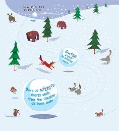 #paulboston #meiklejohn #illustration #digital #stylised #snow #fox #snowball #lima #owl #squirrel #landscape