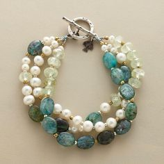 Diy Jewelry : CRèME DE MENTHE BRACELET — Sophisticated and sweet—a three-strand bracelet that balances the fresh minty tones of prehnite with luminous pearls and sea-blue kyanite. -Read More – Pearl Jewelry, Wire Jewelry, Jewelry Crafts, Beaded Jewelry, Jewelery, Jewelry Bracelets, Necklaces, Bangles, Jewelry Ideas