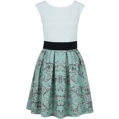 Closet Damask Box Pleat Skater Dress, Green found on Polyvore