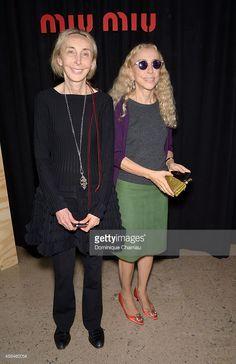 Carla Sozzani and Franca Sozzani attend the Miu Miu show as part of the Paris Fashion Week Womenswear Spring/Summer 2015 on October 1, 2014 in Paris, France.