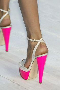 platform hot pink/white color block heels w/ an ankle strap.