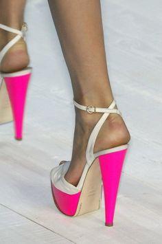 platform hot pink/white color block heels w/ an ankle strap.