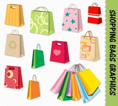 Shopping Bags Clip Art Shopping Clipart Graphic Scrapbook Digital Download JPG Transparent PNG Vector Commercial Use by GraphicsSupply on Etsy https://www.etsy.com/uk/listing/222440704/shopping-bags-clip-art-shopping-clipart