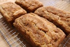 Snickerdoodle Bread  Barbara Bakes     Prep time: 5 mins     Cook time: 35 mins     Total time: 40 mins     Serves: 4 loafs     A sugar and cinnamon coated bread that will please any Snickerdoodle fan.     Ingredients   ■2 1/2 c. all purpose flour   ■1 tsp. baking powder   ■1/2 tsp. salt   ■2 tsp. cinnamon   ■1 cup butter, softened   ■2 cups sugar   ■3 eggs   ■1 tsp. vanilla   ■3/4 c. sour cream   ■1 pkg. Hershey's cinnamon chips   ■TOPPING:   ■3 T. sugar   ■3 t. cinnamon