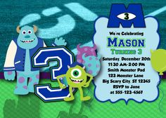 Monsters U Birthday Invitation