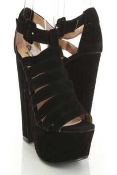 Black Velvet Faux Leather Strappy Buckle Platform Chunky Heels