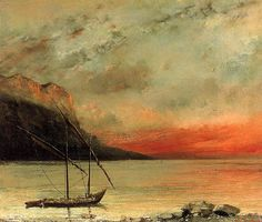 Gustave Courbet (French, Realism, 1819–1877): Sunset over Lake Leman, 1874. Oil on canvas. Musee des Beaux-Arts, Vevey, Switzerland.