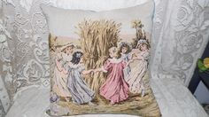 Vintage Pillow Tapestry Girls Playing Ring Around The Rosie Scene by FabulousFinds1 on Etsy