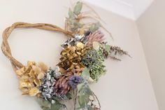 Anyone else a big fan of dried wreaths? All creations available to buy soon! Dried Flower Bouquet, Dried Flowers, Flowers Australia, Grapevine Wreath, Grape Vines, Florals, Floral Design, Floral Wreath, Wreaths