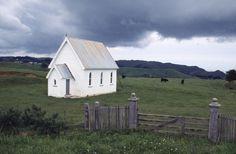 Abandoned church at Awhitu. ca 1988.