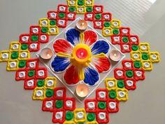 Rangoli for Diwali/lakshmi pada FESTIVAL'S rangoli designs Rangoli Designs Latest, Simple Rangoli Designs Images, Rangoli Designs Flower, Rangoli Designs Diwali, Diwali Rangoli, Rangoli Designs With Dots, Flower Rangoli, Beautiful Rangoli Designs, Kolam Designs