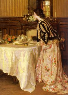 Tea Time - Henry Salem Hubbell ~ I don't know this artist, but this painting has a very Pre-Raphaelite feeling to it. Keith Haring, Helen Frankenthaler, Tee Kunst, Richard Diebenkorn, Tea Art, Jackson Pollock, How To Make Tea, American Artists, Afternoon Tea