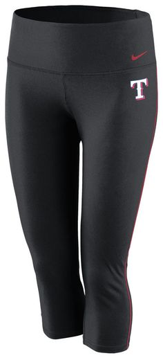 Texas Rangers Women's Black Nike Dri-FIT Capri Pants http://www.rallyhouse.com/mlb/al/texas-rangers/a/womens/b/legwear?utm_source=pinterest&utm_medium=social&utm_campaign=Pinterest-TexasRangers $45.00