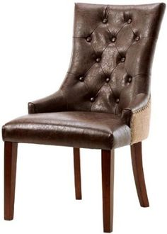 "Shop Rebecca Tufted Accent Chair, 38""HX22""WX27""D, BRWN LTH W BRLP at the Amazon Furniture Store"