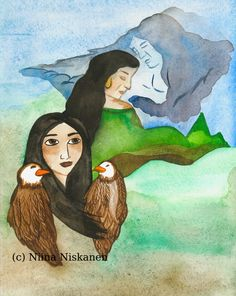 Native American Art Original Children Book Illustration Watercolor Painting Native American Spirituality Eagles Girl Art For Kids Rooms by fairychamber on Etsy