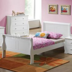 Nebo Youth Sleigh Bed in White by Acme Furniture