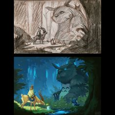 Here is one of the thumbnail sketches with the final Totoro/Princess Mononoke painting.  While I was painting this one for the gallery show, I wondered what the scene would've been like if Ashitaka met Totoro and his friends. I decided to have chibi...