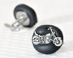 Motorcycle Wedding Cufflinks for Manly Men Grooms and Groomsmen or Father's Day in Black Polymer Clay - Custom Colors Available