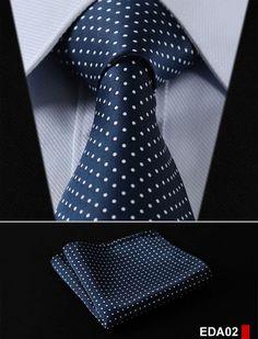 "Dot 3.4"" 100%Silk Wedding Jacquard Woven Men Tie Necktie Pocket Square Handkerchief Set Suit EDA"