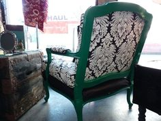 Emerald green, reupholstered armchair — Fixed price $375
