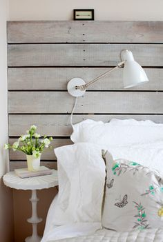 wood distressed weathered headboard board barn diy pottery