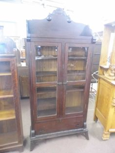 Very Early Antique Glass Door Bookcase Cabinet by hamricksantiques, $895.00