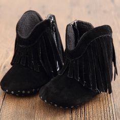 2016 Moccasin Moccs Newborn Baby Girl Boy Kids Solid Fringe Shoes Infant Toddler Soft Soled Anti-slip Boots Hot 0-18M