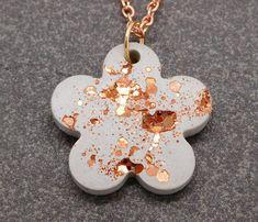 Rose gold glitter concrete flower necklace / rose gold