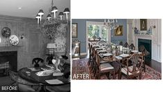 Before/After of a dining room renovation by Charles Hilton Architects