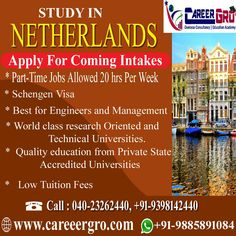 Careergro Overseas Consultant is one of the best study abroad consultants in Hyderabad. We provide best services for study, work and want to migrate abroad. Technical University, Overseas Education, Part Time Jobs, Study Abroad, Higher Education, Netherlands, Engineering, Management, How To Apply