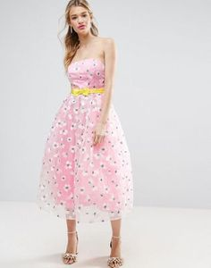 ASOS SALON Embroidered Organza Midi Prom with Bow Waist Detail